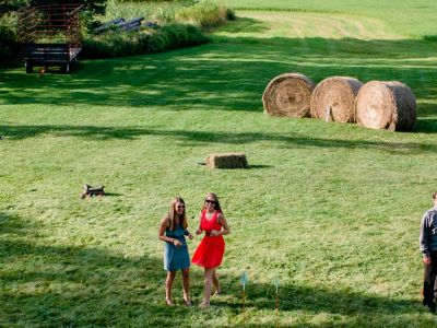Lawn games at Badger Farms